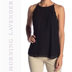 Morning Lavender Scalloped Black Camisole Blouse